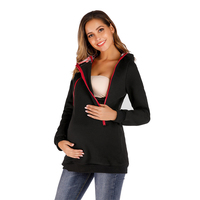 Maternity Kangaroo Mother Zippered Hooded Casual Hoodie Coat Womens Clothing Cotton Solid Womens Long Sleeve Tops Outerwear