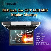 NEW 12 inch Monitor 1080P Video HD Digital TFT Screen Widescreen Ultra thin Mounted Car Roof Player AV FM HDMI USB SD MP5 NO DVD