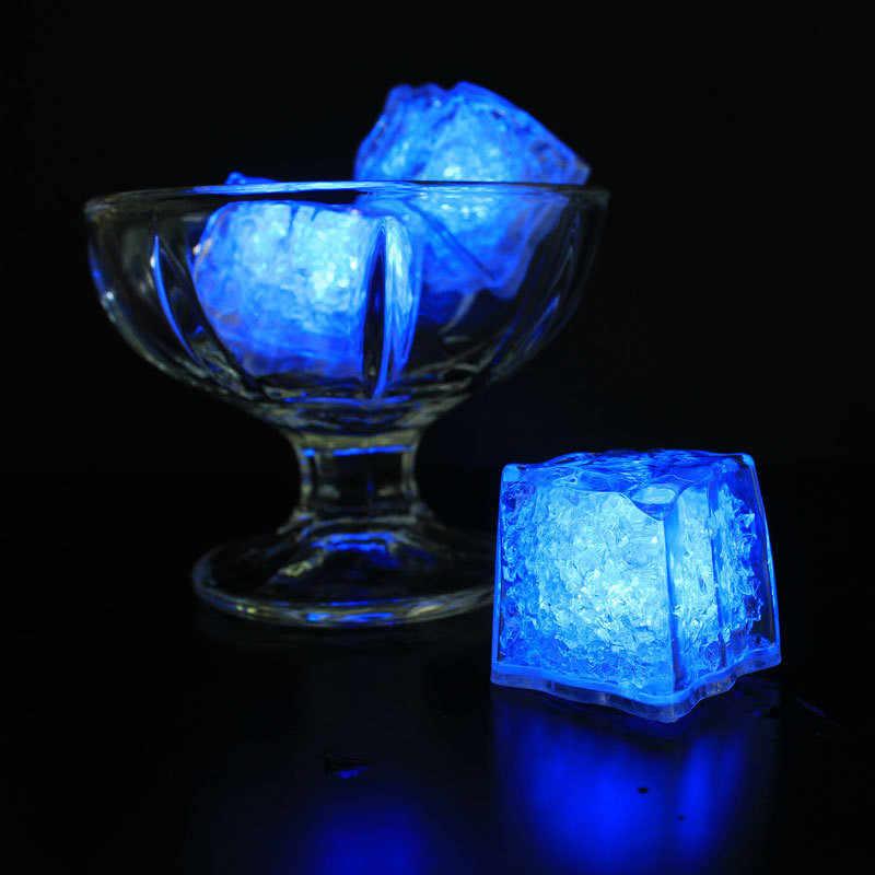 LED cubos de hielo brillante fiesta luces de Flash luminoso lámpara de neón boda Festival Navidad Bar vino vidrio decoración suministros