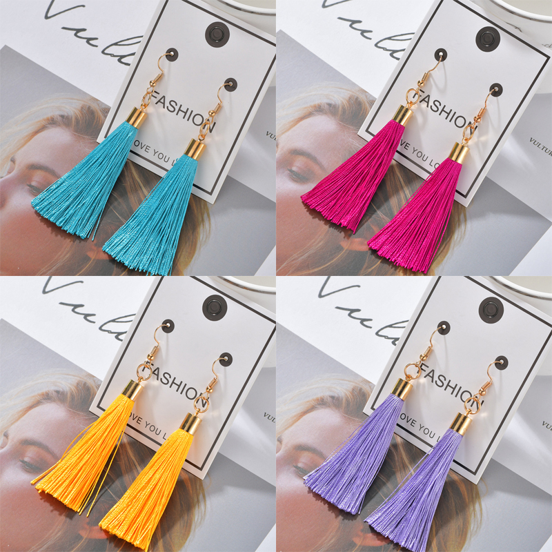 Hb5441065c55440ad91bbdac3d90fd808S - Bohemian Heart Tassel Long Drop Earrings BOHO Pink Blue Silk Fabric Design Dangle Earrings For Women Jewelry Gift Christmas