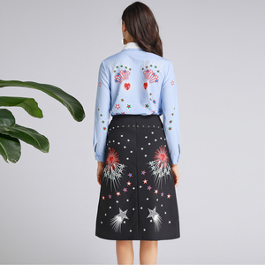 Image 5 - AELESEEN Ruway Gedrukt Office Lady Twinset Luxe Kralen Kraag Lovertjes Blauw Shirt Tops + Black Star Print Mid Kalf rok Set
