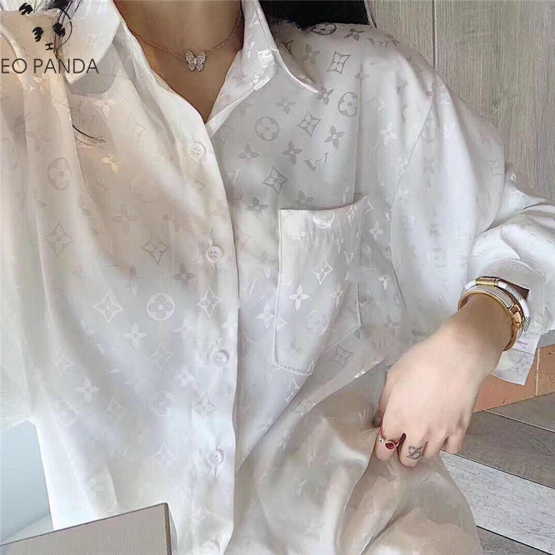 2020 Luxury Womens Tops and Blouses LouisPlus Size Print Long sleeved White Shirt Female Summer Design Loose Wild Cardigan Top|Blouses & Shirts| - AliExpress