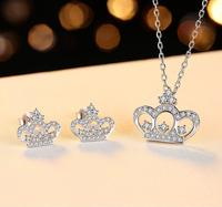 Charming Lady Jewelry Set Crown Design Shiny CZ Necklace Pendant Earrings Set for Bride S925 Silver Necklace Set Gift for Lover