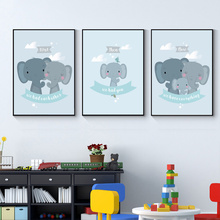 Blue Poster Boy Nursery Wall Art Print Elephant Family Animal Canvas Painting Nordic Poster Baby Kids Room Picture Wall Decor animal cartoon poster giraffe elephant canvas painting nursery wall art nordic poster black and white picture kids room decor