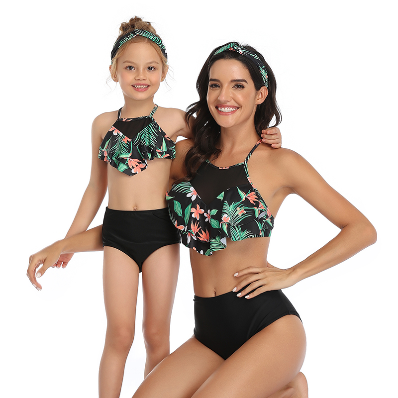 Flower Mother Daughter Swimsuits Mommy And Me Swimwear Family Matching Clothes Outfits Look Women Girls Mom Mum And Baby Bikini