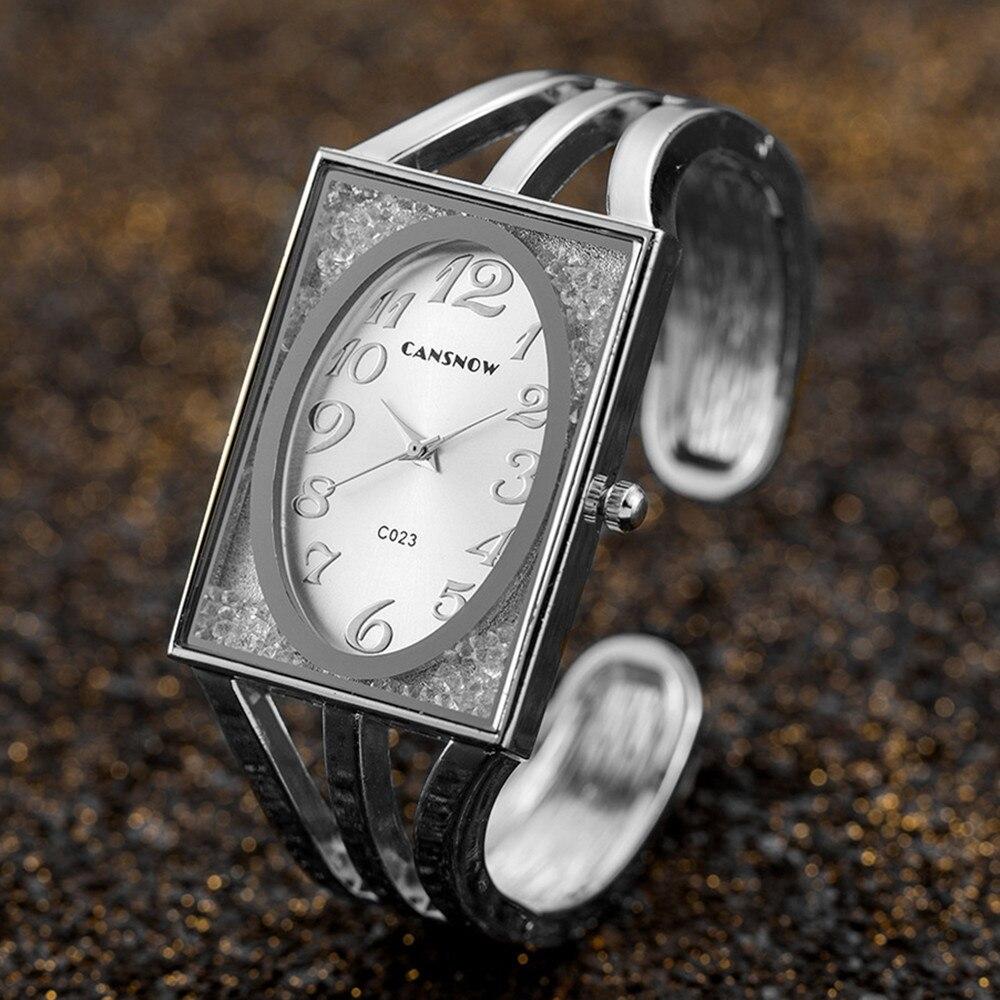 Frauen Platz Uhren Luxus Strass Armband Oval Zifferblatt Casual Kleid Quarz Armbanduhren Kreative Geschenk reloj mujer