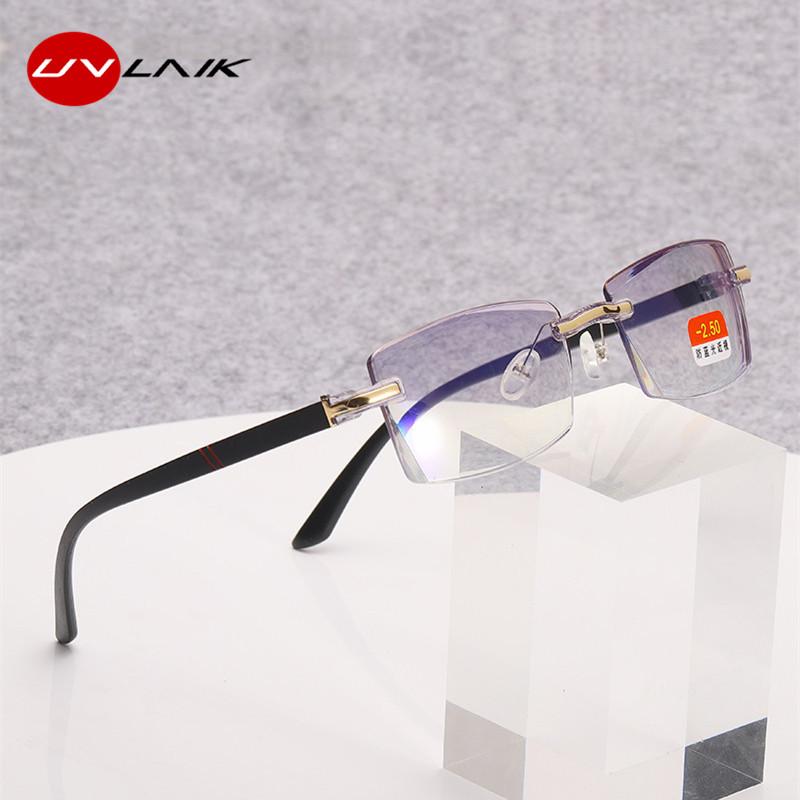 UVLAIK Finished Myopia Glasses Frameless Trimming Myopia Eyewears Anti-blue Light TR Temple Prescription Eyeglasses -1~-4.0