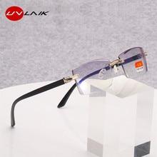 UVLAIK Finished Myopia Glasses Frameless Trimming Myopia Eyewears Anti-blue Light TR temple Prescription Eyeglasses -1~-4.0