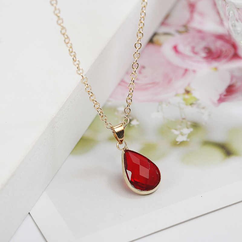 Birthstone naturalne kropla wody wisiorek naszyjnik Druzy kamień kwarcowy kryształ Diy Charm naszyjnik dla kobiet moda biżuteria