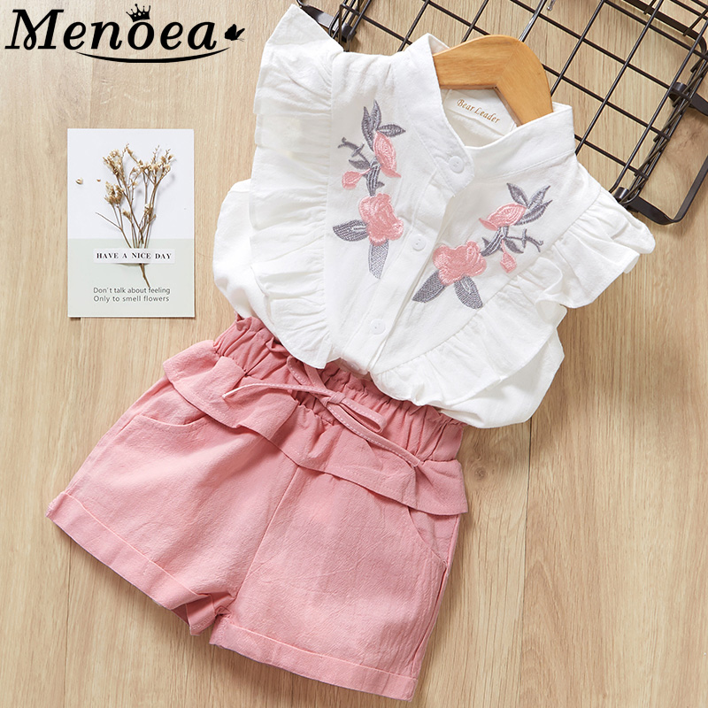 Toddler menoea girls suits 2020 summer clothes style kids beautiful floral flower sleeve children o-neck clothing shorts suit 2pcs