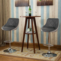 2Pcs Modern Stylish Gray White Color soft Leather Bar Chairs Lift Adjustable Height Bar Stools Home Furniture Rotated Chair HWC