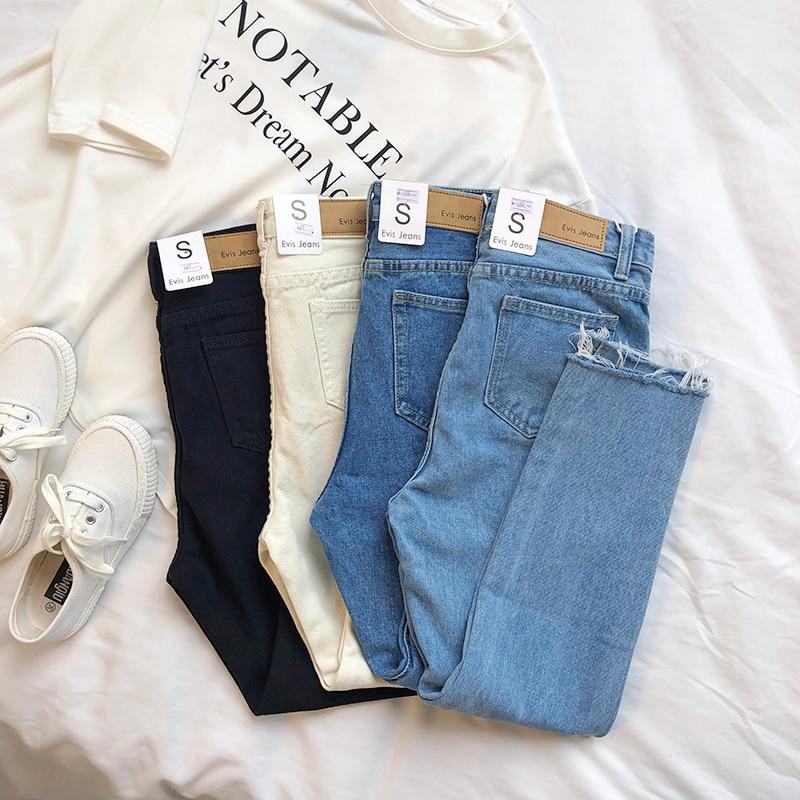 Mooirue Spring Women Base Denim Jeans High Waist Pencil Blue Ankle Jeans