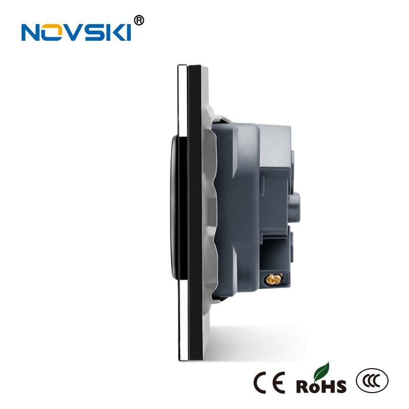 NOVSKI EU Schuko Plug F Electrical Double Wall Socket 16A Crystal Tempered Glass Panel AC110 250V Power Socket CE RoHS certified in Electrical Sockets from Home Improvement