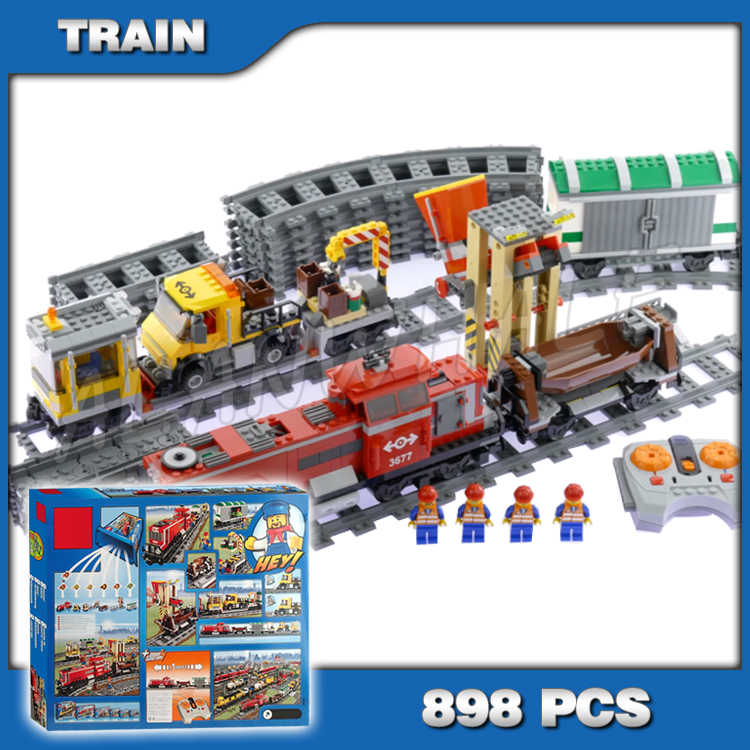 898pcs City Trains Motorized Remote Control Red Cargo Train 02039 Figure Building Blocks Children Toys  Compatible With Lego
