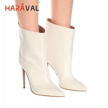 HARAVAL Fashion Woman Luxury Ankle Boots High Quality Genuine Leather Sexy Pointed Toe Thin Heel Shoes Classic Solid Boot