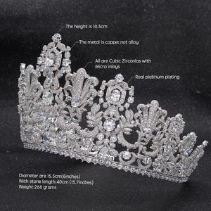 Image 3 - Muhteşem Klasik Kübik Zirkonya Düğün Gelin 2/3 Yuvarlak Lüksemburg tiara taç Diadem Kadınlar için Saç Takı Aksesuarları HG026
