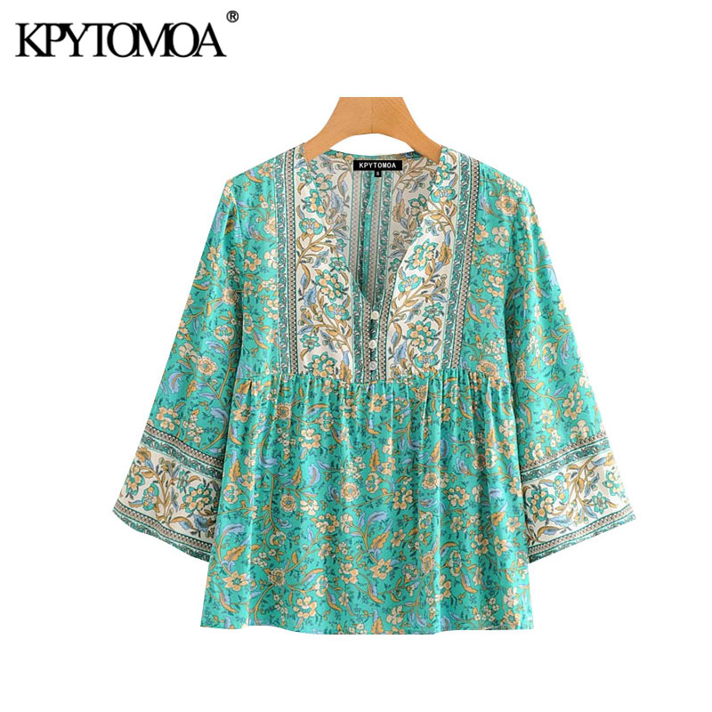 KPYTOMOA Women Bohemian Floral Print Buttons Blouses Vintage V Neck Three Quarter Sleeve Summer Beach Shirts Blusas Chic Tops