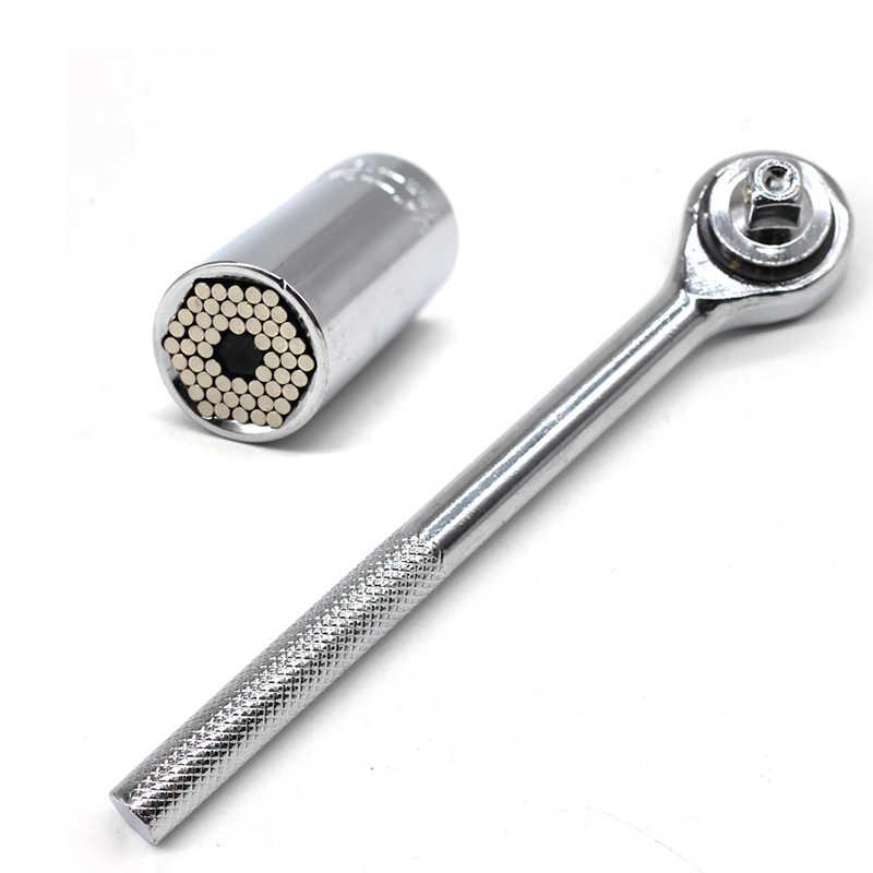 Juego de llave de torsión Universal, cabezal, casquillo de la llave, 7-19mm, llave de trinquete, Kits de taladro eléctrico, herramientas de mano de agarre mágico