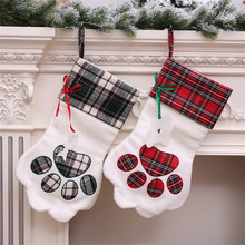 Christmas Socks Gift Bags Tree Pendants Creative Dog Claws Decorations  Ornaments