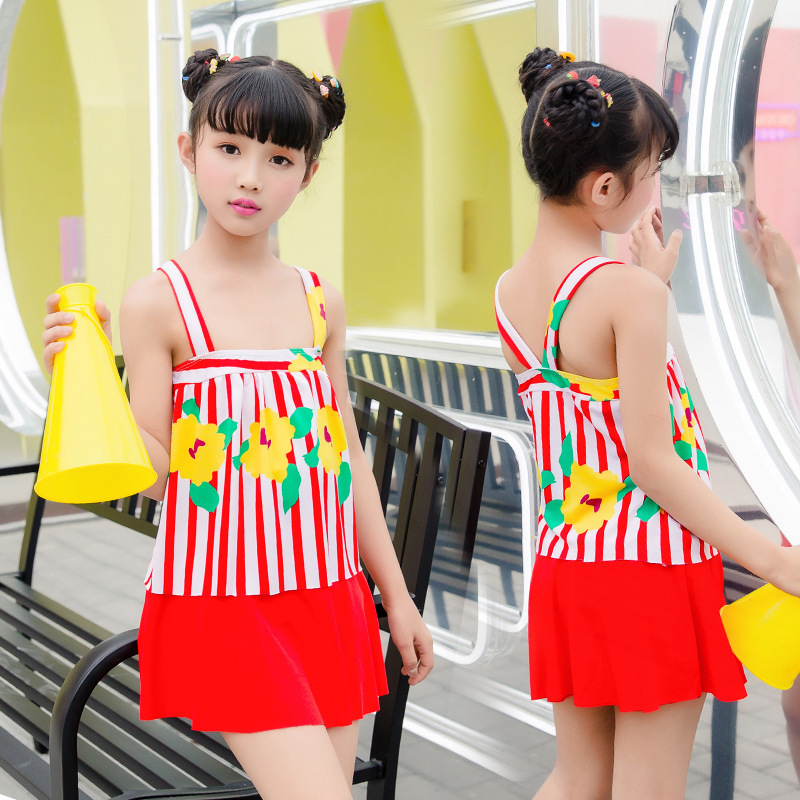 New Style Girls Swimsuit Skirt-Big Boy Boxer Stripes Printed CHILDREN'S Swimwear Nt109805