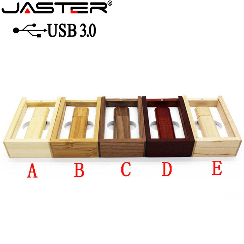 JASTER USB 3.0 Wooden Bamboo USB Flash Drive Pen Driver Wood Chips Pendrive 4GB 8GB 16GB 32GB 64GB USB 1PCS Free Custom Logo