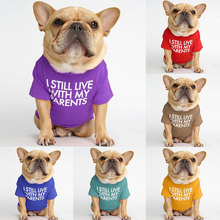 2021 Fashion Letters Printed Dog T-shirt Pure Cotton Dog Clothes for French Bulldog Soft Breathable Pet Costume S-XXL