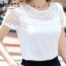 Jeseca новая женская одежда шифоновая кружевная блузка-кроше женские корейские рубашки женские блузы Топы Рубашки белые блузки облегающие Топы