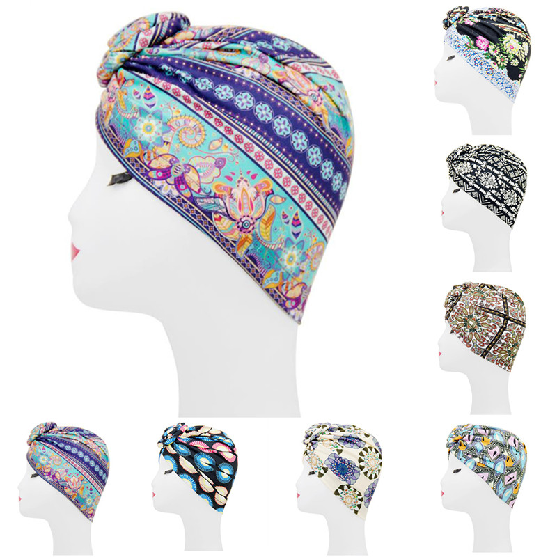 Dustproof Street Fashion Ladies Hijab Set Headband Fashion Print Mixed Cotton Women's Islamic Muslim Hijab