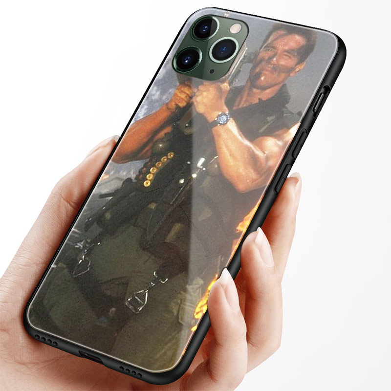 Hb54529643fa5432c97b990747a086d34m Arnold Schwarzenegger movie Commando 1985 poster glossy smooth tempered glass case For Apple iPhone 11 PRO MAX i11 pro coque