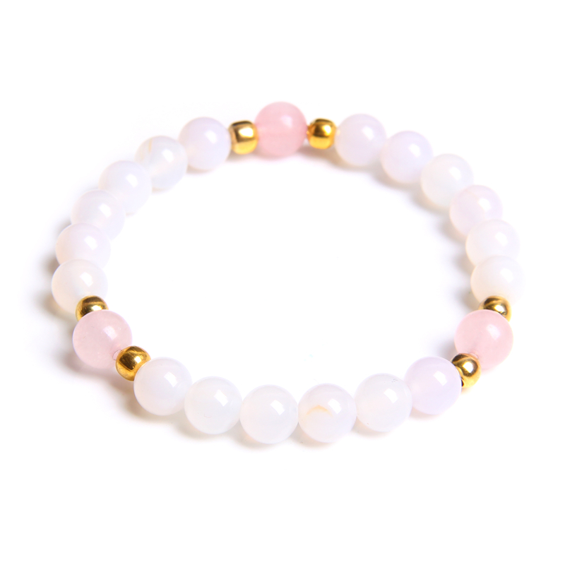 Bohemian Pink Stone Bracelet Femme Braceets for Women Natural Agates Jewelry Ethnic Vintage Bead Charms Bangle