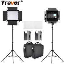 Travor L4500K Bi Màu Sắc 2 Bộ Đèn LED Video Bộ Ngăn Cao Cấp Camera Đèn Âm Trần Led Video Với Chân Máy và Túi