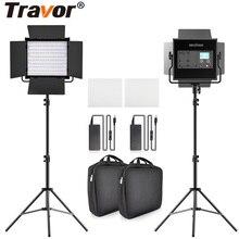 Travor L4500K bi renk 2 takım LED Video ışık kiti profesyonel kamera işık dim Led ışık video Tripod ve çanta