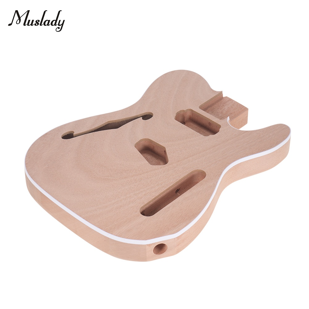 Muslady TL-F Unfinished Electric Guitar Body Blank Guitar Body Barrel DIY Mahogany Wooden Body Guitar Parts Accessories