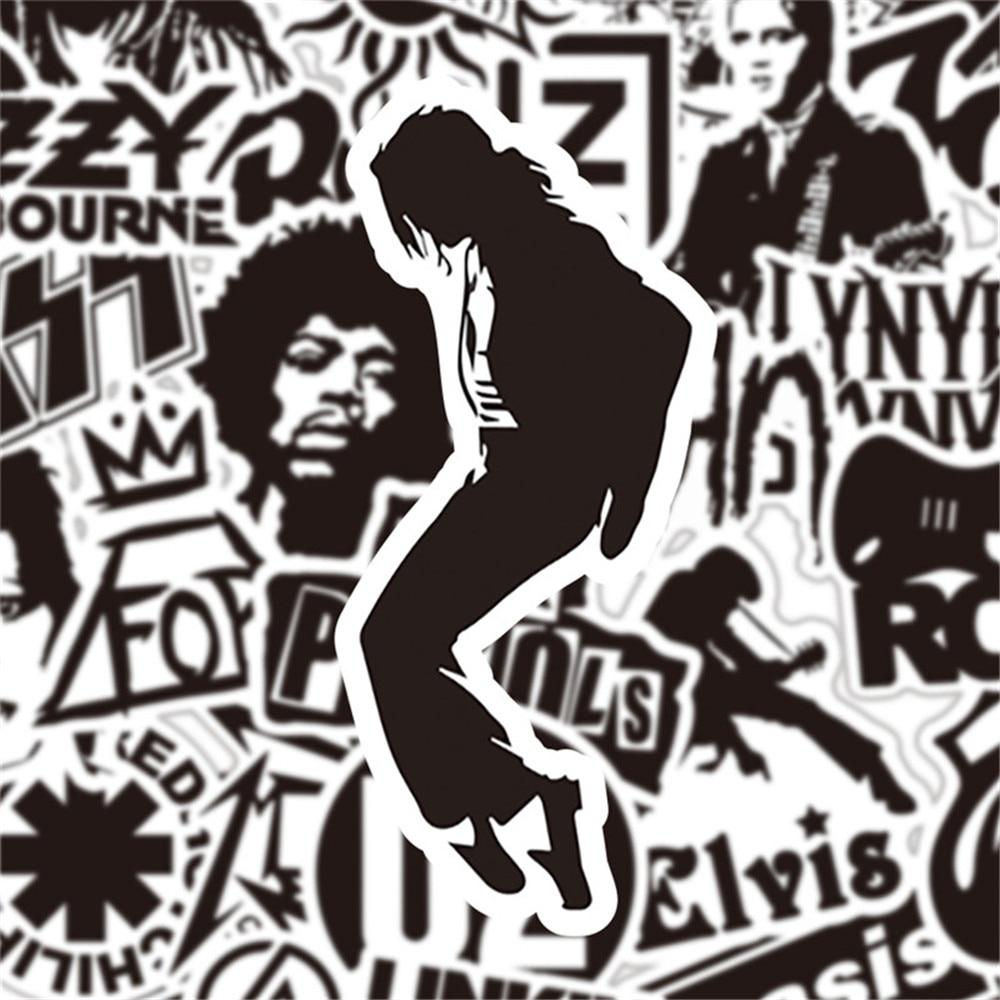 50Pcs Vinyl Black White Rock Music Bands Stickers For Skateboard Luggage Laptop