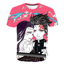 3D Baby Boy T-shirt Meisje Demon Slayer Kid Japan Anime Harajuku Ghost Blade Grappige T-shirt Jongens Kleding Gift Voor kind Streetwear(China)