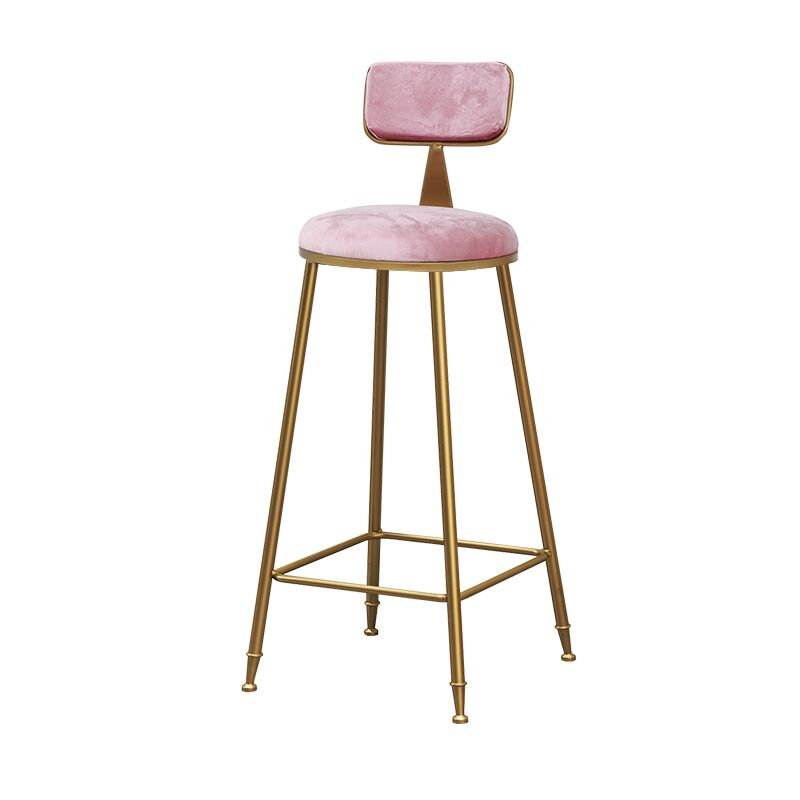 Nordic Bar Chair Stool Ins Simple Net Red Light Luxury Restaurant Milk Tea Front Desk Chair Gold Back High Foot Stool