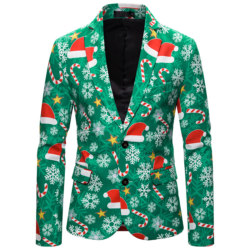 Green Color Digital Print Ugly Christmas Suit For Men Single Breasted Xmas Party Men's Ugly Christmas Blazer Plus Size