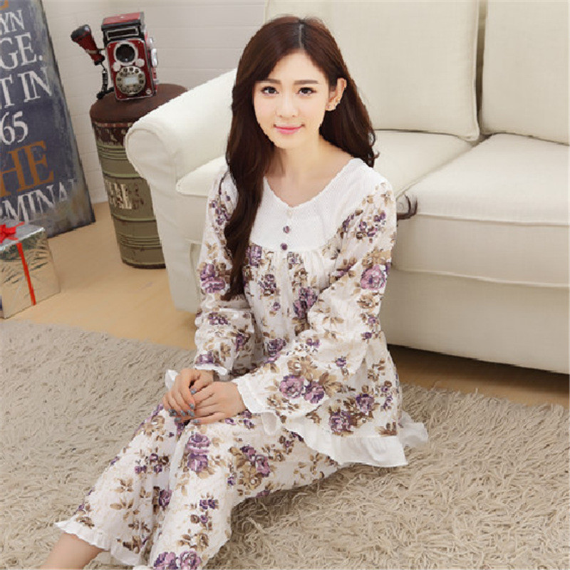 Middle-aged Mom Pajamas Women's Knitted Cotton Long Sleeve Middle-aged Spring And Autumn Home Wear Old Man Large Size Autumn Set