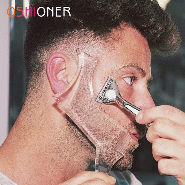 Oshi13a 1 قطعة قالب التصميم اللحية استنسل مشط شعر ذقن للرجال الوجهين مشط شعر ذقن العالمي اللحية أداة اللحية تشكيل أداة