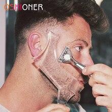 Oshioner 1 pçs modelo de estilo de barba stencil pente de barba para homens de dupla face pente de barba universal ferramenta de barba ferramenta de modelagem de barba