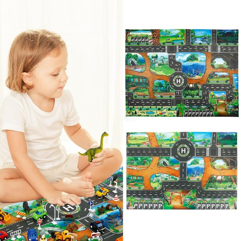 Non-Woven Fabric Baby Crawling Play Mat Dinosaur Traffic Road Kids Climbing Pad Suitable For Living Room Indoor Outdoor