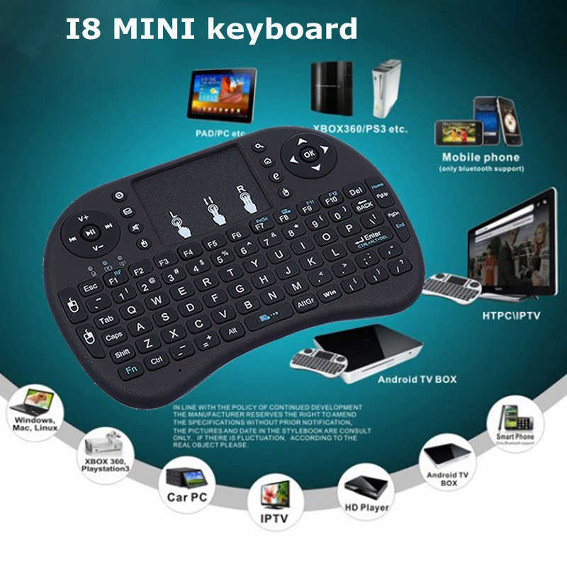 Draagbare Backlit Mini Draadloze Toetsenbord I8 2.4G Air Mouse Touchpad Engels Russisch Spaans Frans Afstandsbediening Voor Android