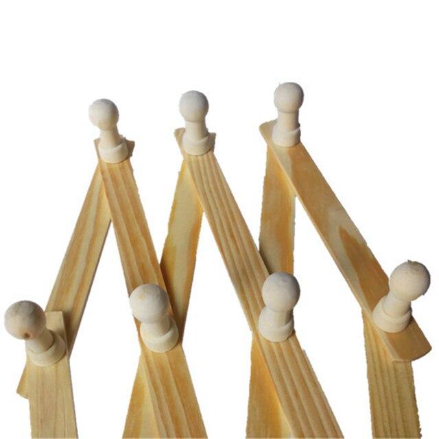 Wooden Expandable Wall Hanger Coat Rack Accordion Design 13 Peg Hooks Storage