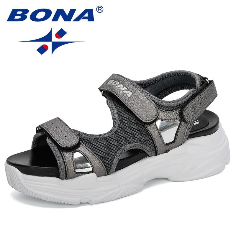 BONA 2020 New Designers Women Sport Sandals Wedge Hollow Out Woman Sandals Outdoor Cool Platform Shoes Ladies Beach Summer Shoes