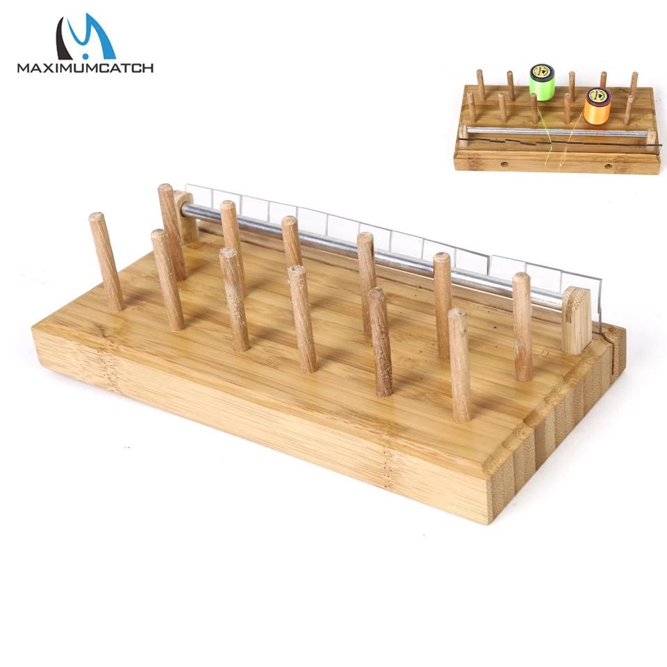 Maximumcatch-soporte para carrete de atado de moscas, estación de carrete hecho a mano, para carrete de madera natural
