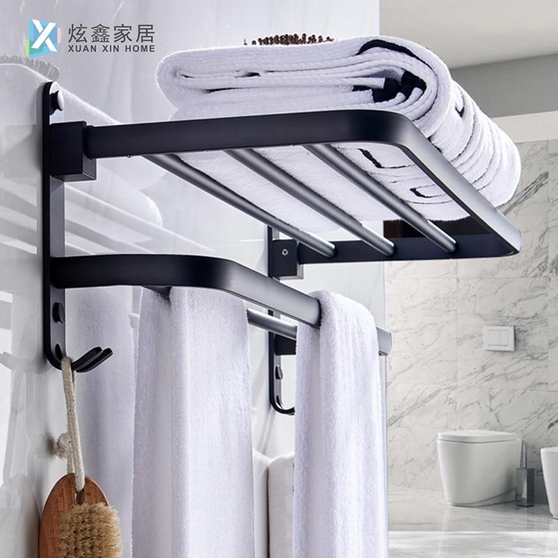 Bathroom Towel Holder Space Aluminum Towel Rack Wall Mounted Folding Storage Adhesive Bath Towel Hanger Bathroom Shelf With Hook