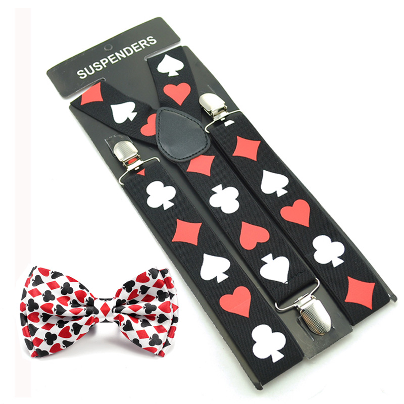 Fashion 3.5 Cm Brace Tie Set Women Men Unisex 3 Colors Mix Suspender And Bow Tie Set Y-Shape Poker Office Casual Tie Cravat Set