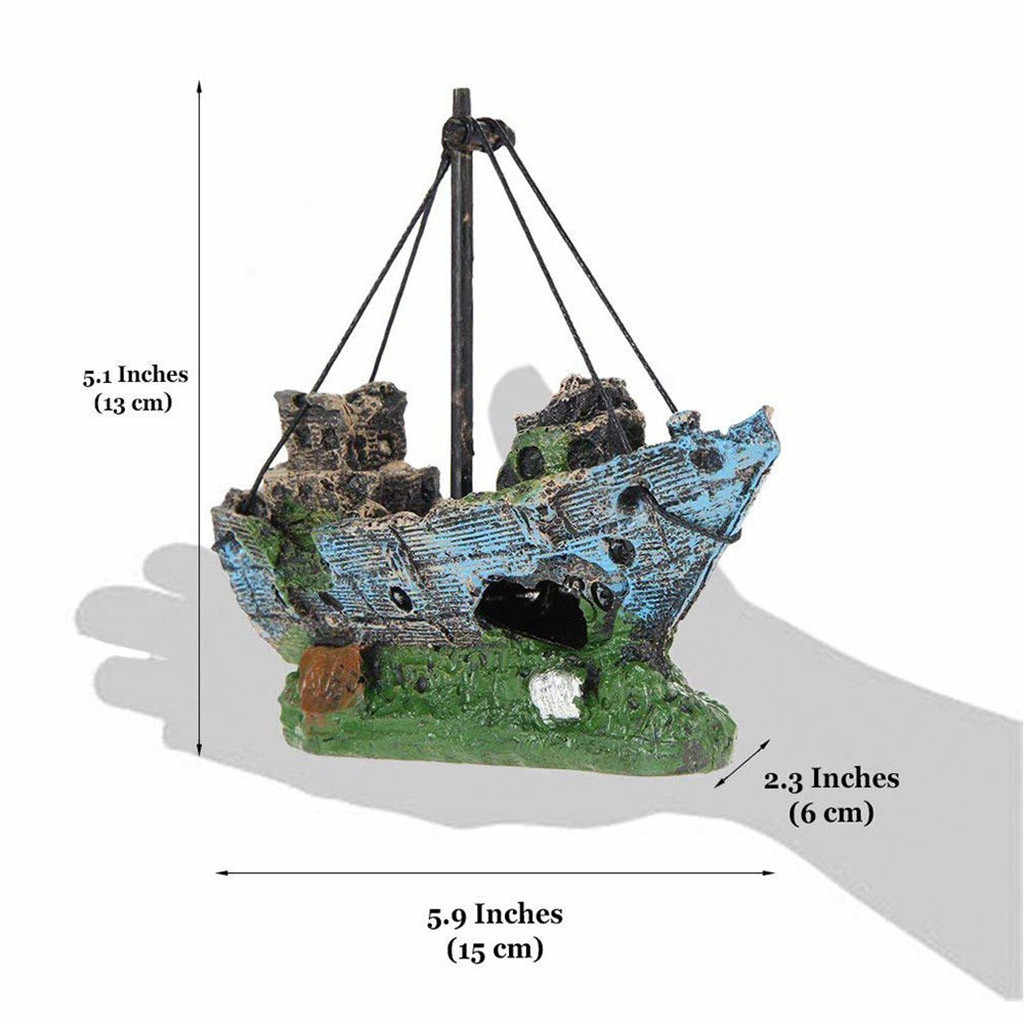 Wreck Sunk Ship home Aquarium Ornament Sailing Boat Destroyer Fish Tank Cave Decor Resin Ornament Landscaping Decoration #0906