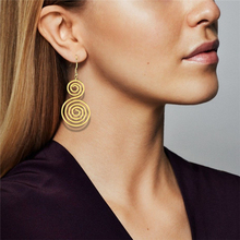Bohemia Ethnic Personality Round Spiral Drop Earrings Exaggerated Love Heart Whirlpool Indian for Women Jewelry Tassel