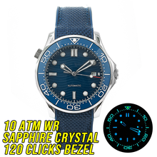 HOT 10BAR 100M Water Resistant Blue Wave JAPAN MIYOTA Mechanical Automatic